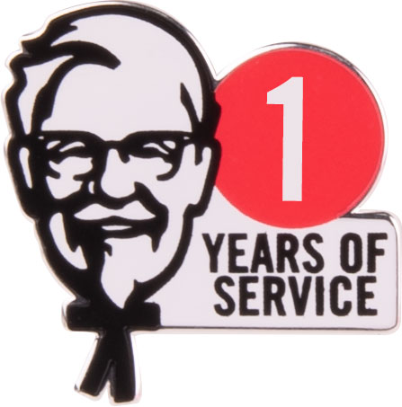 KFC 1 Year of Service lapel pin