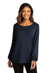 A&W Port Authority ® Ladies Luxe Knit Jewel Neck Top
